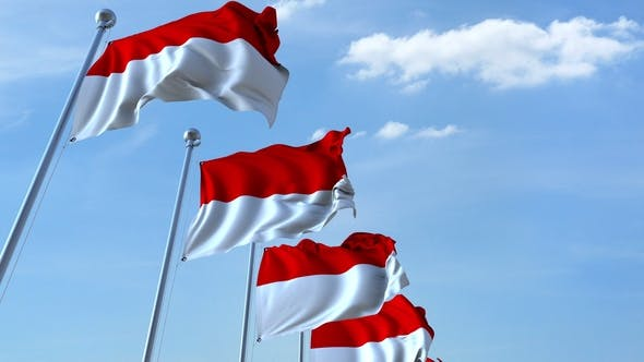 Thumbnail for Waving Flags of Indonesia Against the Sky