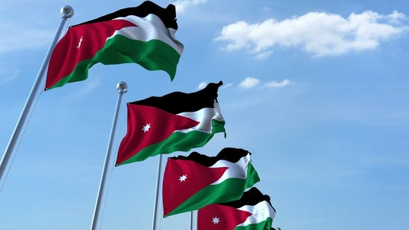 Thumbnail for Waving Flags of Jordan Against the Sky