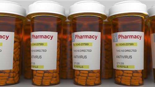 ANTIVIRUS Caption on Pill Prescription Bottles