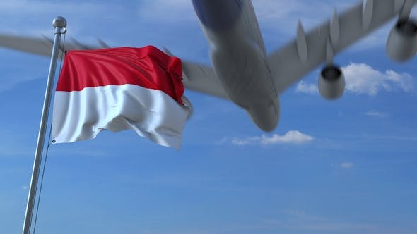Thumbnail for Commercial Airplane Flying Above Waving Flag of Indonesia