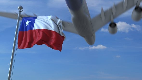 Thumbnail for Commercial Airplane Flying Above Waving Flag of Chile