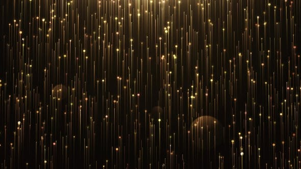 Thumbnail for Glamorous Gold Shine Line and Particles on a Black Background