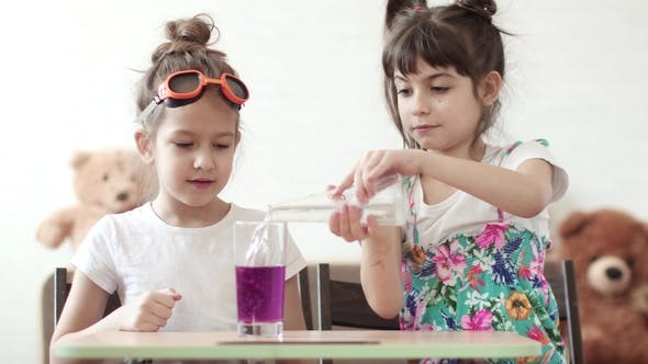 Thumbnail for Children's Science. Children Conduct a Chemical Experiment at Home. Mixing of Iodine and Hydrogen