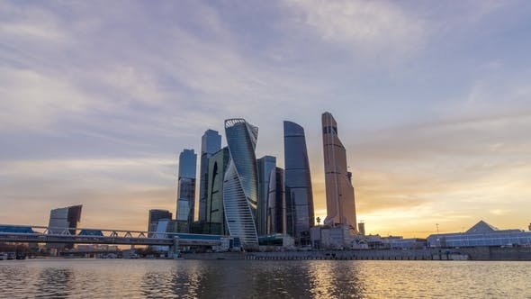 Moscow City Business Center and Blue Sky at Sunset. Russia
