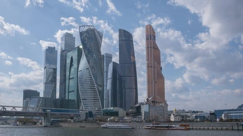 Moscow City Business Center and Blue Sky at Sunny Day