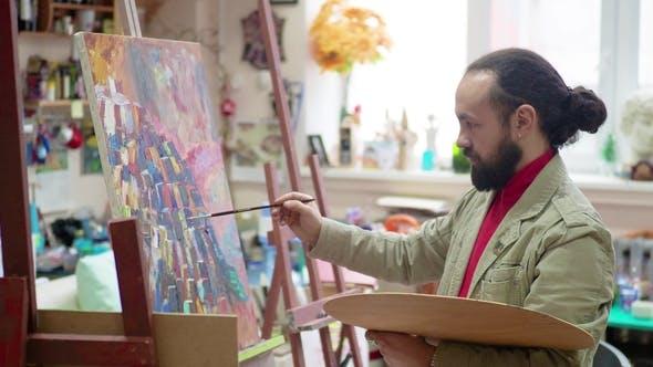 Thumbnail for Artist Painting in Studio