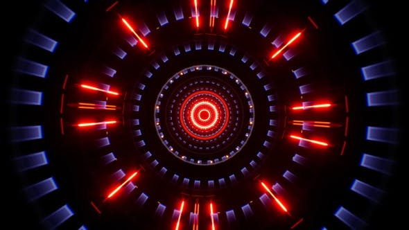 Red Led Light Tunnel Background 4K Loop