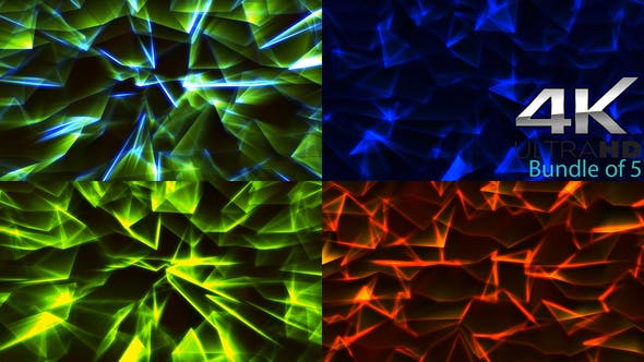 Thumbnail for Magic Bundle of Triangle Particles Background 4k