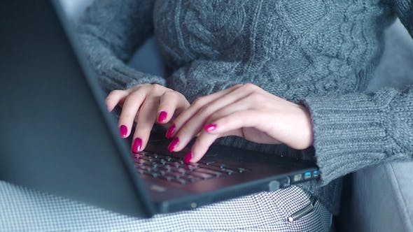 Thumbnail for Woman Using Laptop, Searching Web, Browsing Information, Having Workplace at Home. Business Girl