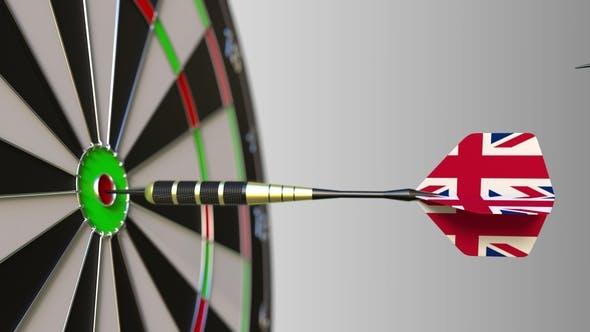 Thumbnail for Flags of Australia and the United Kingdom on Darts Hitting Bullseye