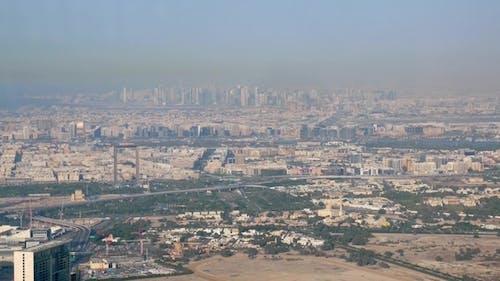 High Panorama of Modern City in Sunny Day, Dubai and Sharjah From Burj Khalifa