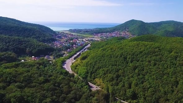 Thumbnail for Drone Flight over Road in Mountains