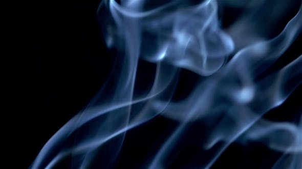 Thumbnail for Blue Smoke Abstract  on Black Background