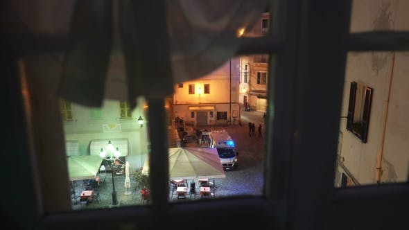 Thumbnail for A Night Incident in the City with Ambulance Car on the Street