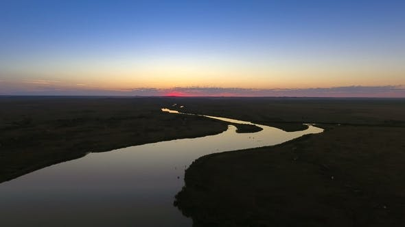 Riverbed at Sunset. View From Above. Idyllic Path