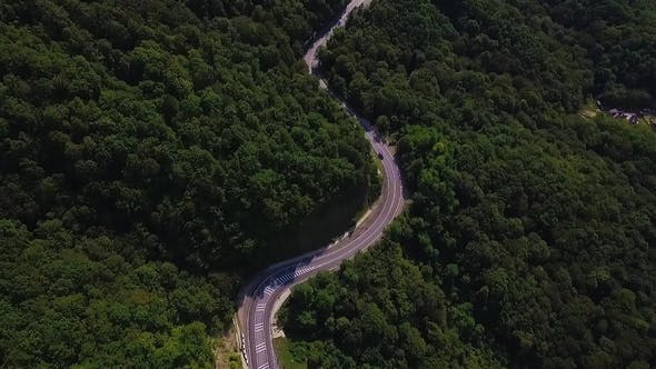 Aerial View Flying Over Old Patched Two Lane Forest Road with Cars Van Moving Green Trees of Dense