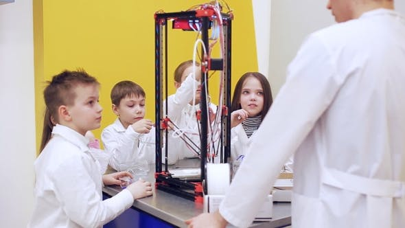 Thumbnail for Children Around 3D Printer Study Modern Technology