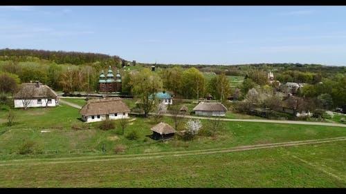 Over Traditional Ukrainian Village in Spring, Pirogovo, KIev