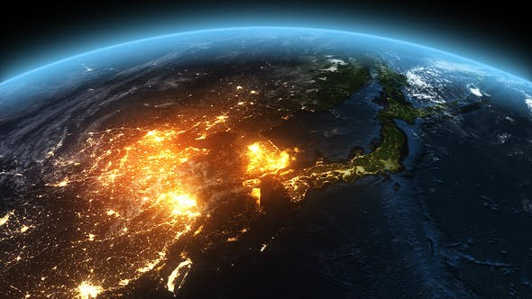 Cover Image for 4K Earth Night to Day Sunrise Asia