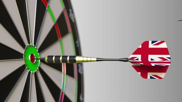 Thumbnail for Flags of the USA and the United Kingdom on Darts Hitting Bullseye of the Target
