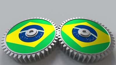 Brazilian National Project Flags of Brazil on Moving Cogwheels