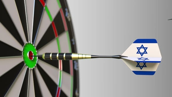 Thumbnail for Flags of the United Kingdom and Israel on Darts Hitting Bullseye of the Target