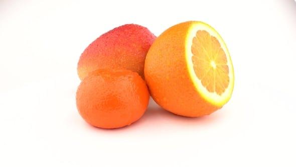 Thumbnail for Mango, Orange Fruit and Mandarin Fruits Rotating on White Background. Isolated.