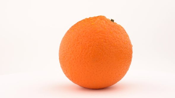 Thumbnail for Juicy Orange Fruit Rotating on Turn Table. Drops on the Skin. Isolated on White Background. Loopable