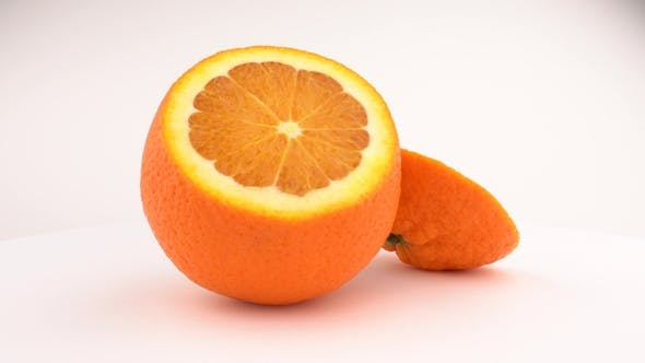 Thumbnail for Cutted Juicy Orange Fruit Rotating. Isolated on White Background. Loopable. View From Above/overhead
