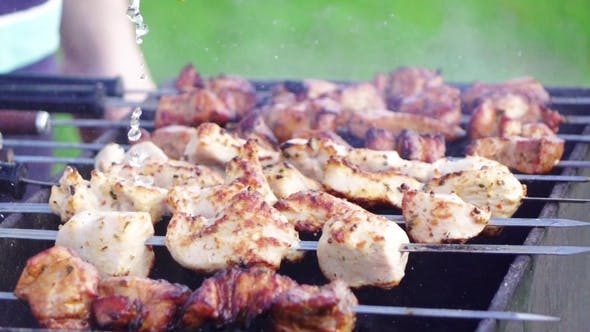 Thumbnail for Pork Beef Kebabs on Barbecue in Summer Time in the Nature