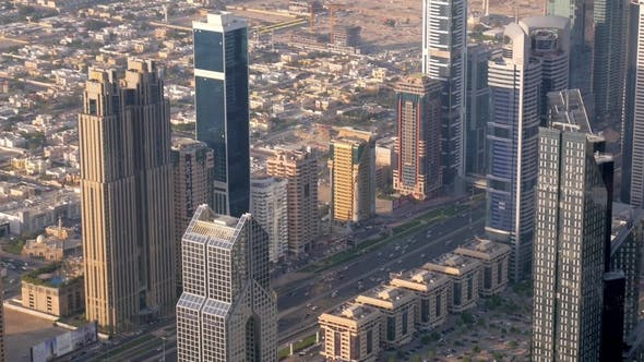 Thumbnail for Wide Road Between High Modern Buildings in Dubai City