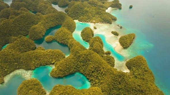 Tropical Lagoon,sea, beach.Bucas Grande Island, Sohoton Cove. Philippines.