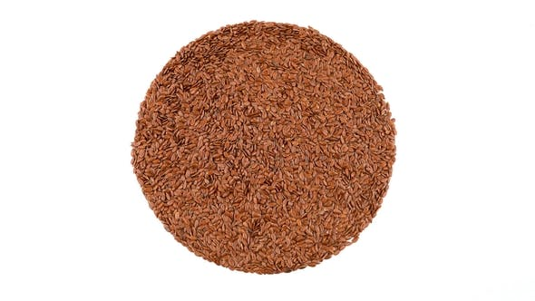 Thumbnail for Circle Shaped Heap of Brown Flax Seeds Rotating.
