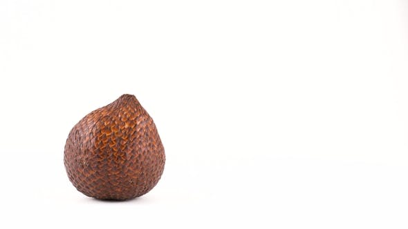 Thumbnail for Quarter Frame  of One Salak Fruit Rotating on the Turn Table. Isolated on White. Loopable.