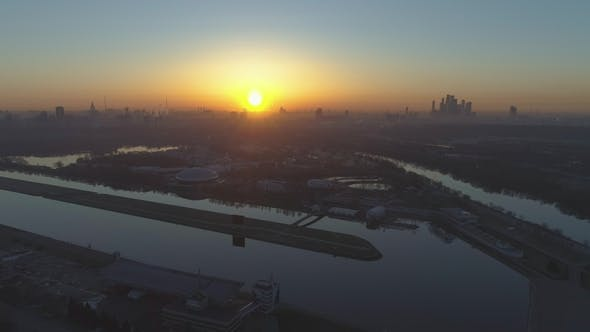 Silhouette of Moscow City at Summer Sunrise. Aerial View. Russia