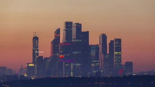 Moscow City Business Center at Sunrise. Russia