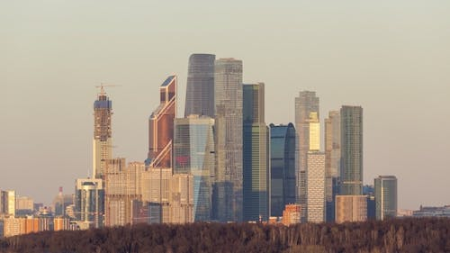 Moscow City Business Center at Sunset. Russia