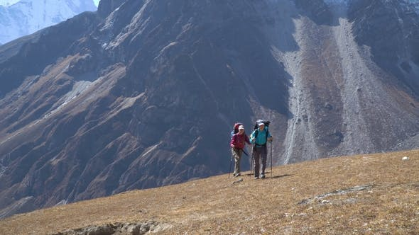 Thumbnail for Girls Tourist Go on the Trail in the Himalayas