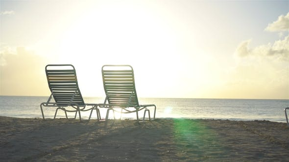 Thumbnail for Two Lounge Chairs on Beautiful Tropical Beach at Maldives