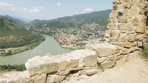 Thumbnail for View from Georgian Orthodox Monastery Jvari to Mtskheta in the Mountain