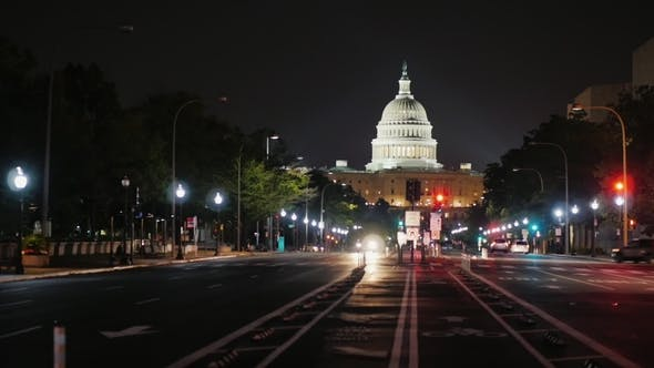 Thumbnail for Capitol at Night, Traffic Machines. View From From Pennsylvania Avenue. Washington, DC