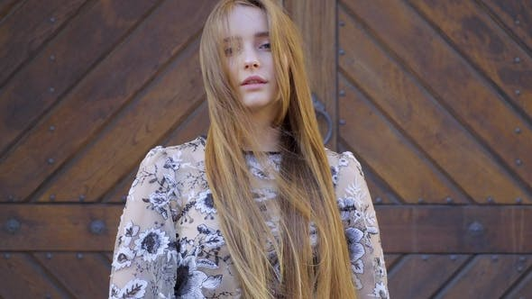 Cover Image for Girl with Long Wheat-colored Hair. Looks Directly Into the Camera, the Hair Develops the Wind