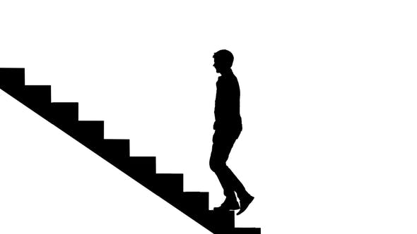 Thumbnail for Silhouette Man Walking Stairs on White. Way To Success