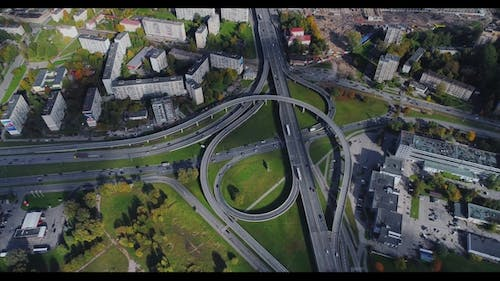 City  Bridge Viaduct Road Traffic Machine Drone Fast Time Cars in Motion Riga Town
