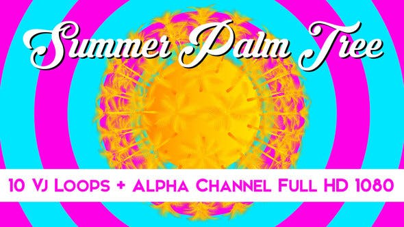 Thumbnail for Summer Palm Tree Vj Loops Pack
