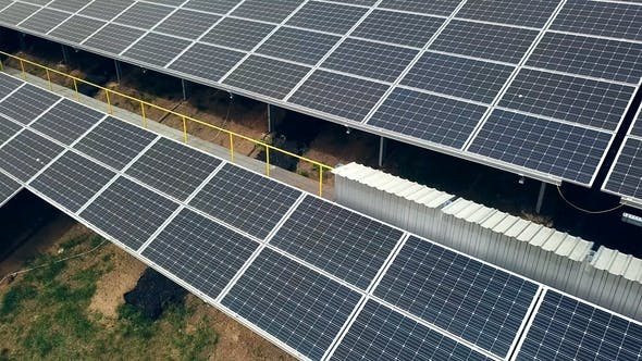 Thumbnail for Aerial View of Solar Panels. Photovoltaic Power Supply Systems. Solar Power plant
