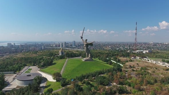 Thumbnail for Aerial View on Monument in Volgograd, Russia