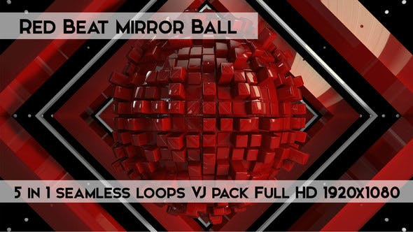 Thumbnail for Red Beat Mirror Ball Vj Loops