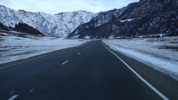 Thumbnail for Car Mount Vehicle Breathtaking Mountain Driving Countryside Road Winter with Oncoming Traffic