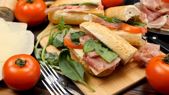 Four Homemade Delicious Sandwiches on the Table